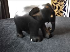 "SOLID EBONY WOOD OLD CARVED ELEPHANT 2"" #642 SWEET HAPPY LITTLE CUTIE"